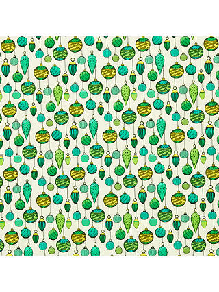 Buy John Lewis & Partners Emerald Bauble Print Fabric, Green Online at johnlewis.com