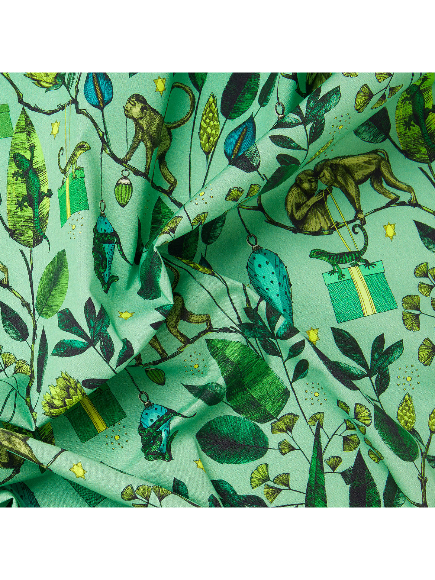 BuyJohn Lewis & Partners Emerald Monkey Print Fabric, Green Online at johnlewis.com
