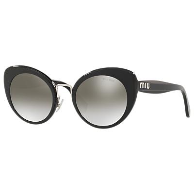 Miu Miu MU 06TS Women's Cat's Eye Sunglasses, Black/Mirror Grey