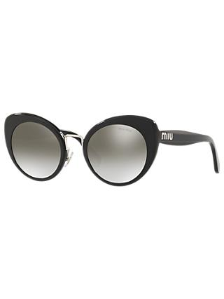 Miu Miu MU 06TS Women's Cat's Eye Sunglasses, Black/Mirror Grey
