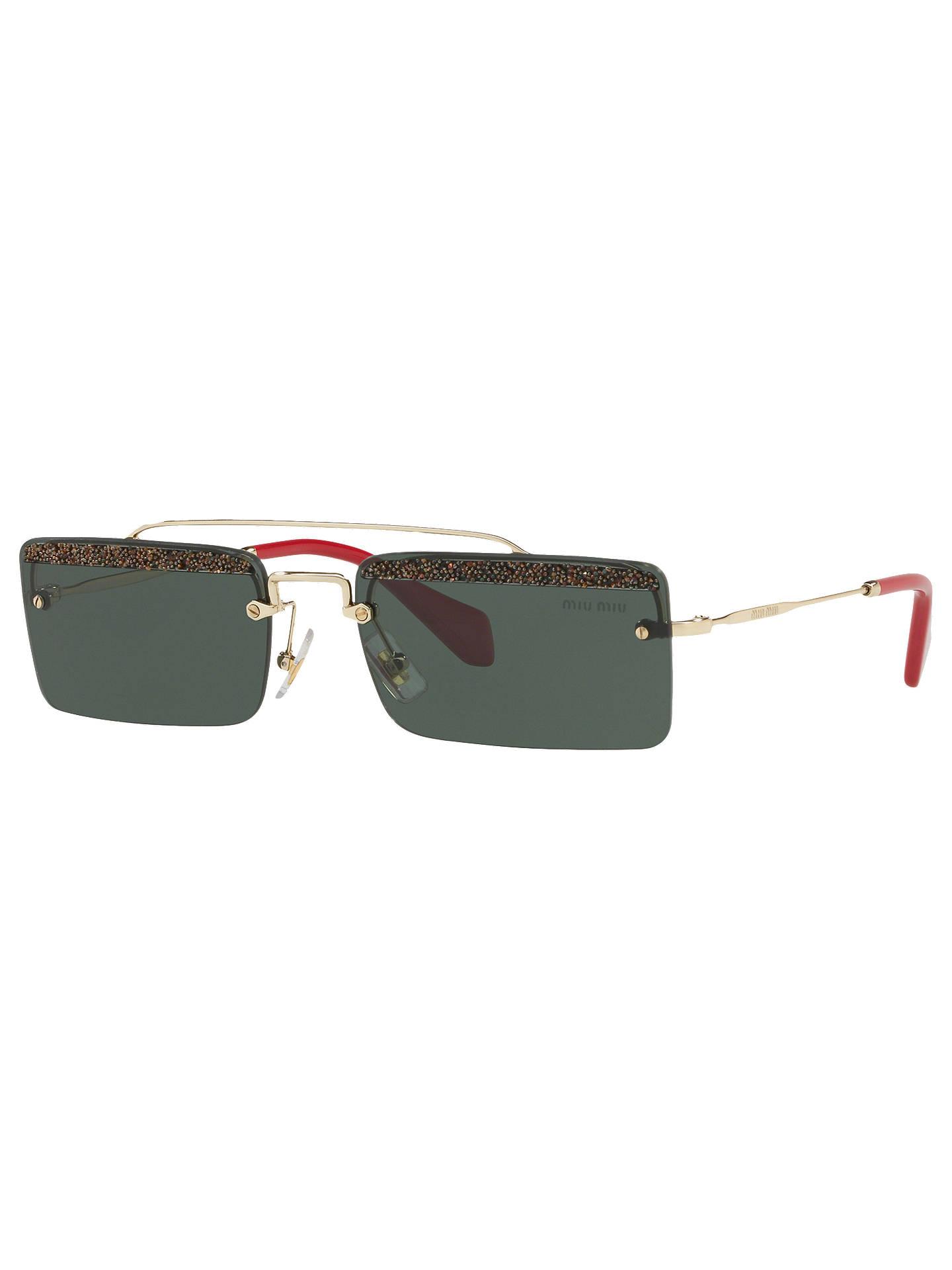 56d11a371 Buy Miu Miu MU 59TS Women's Embellished Rectangular Sunglasses, Light  Gold/Green Online at ...