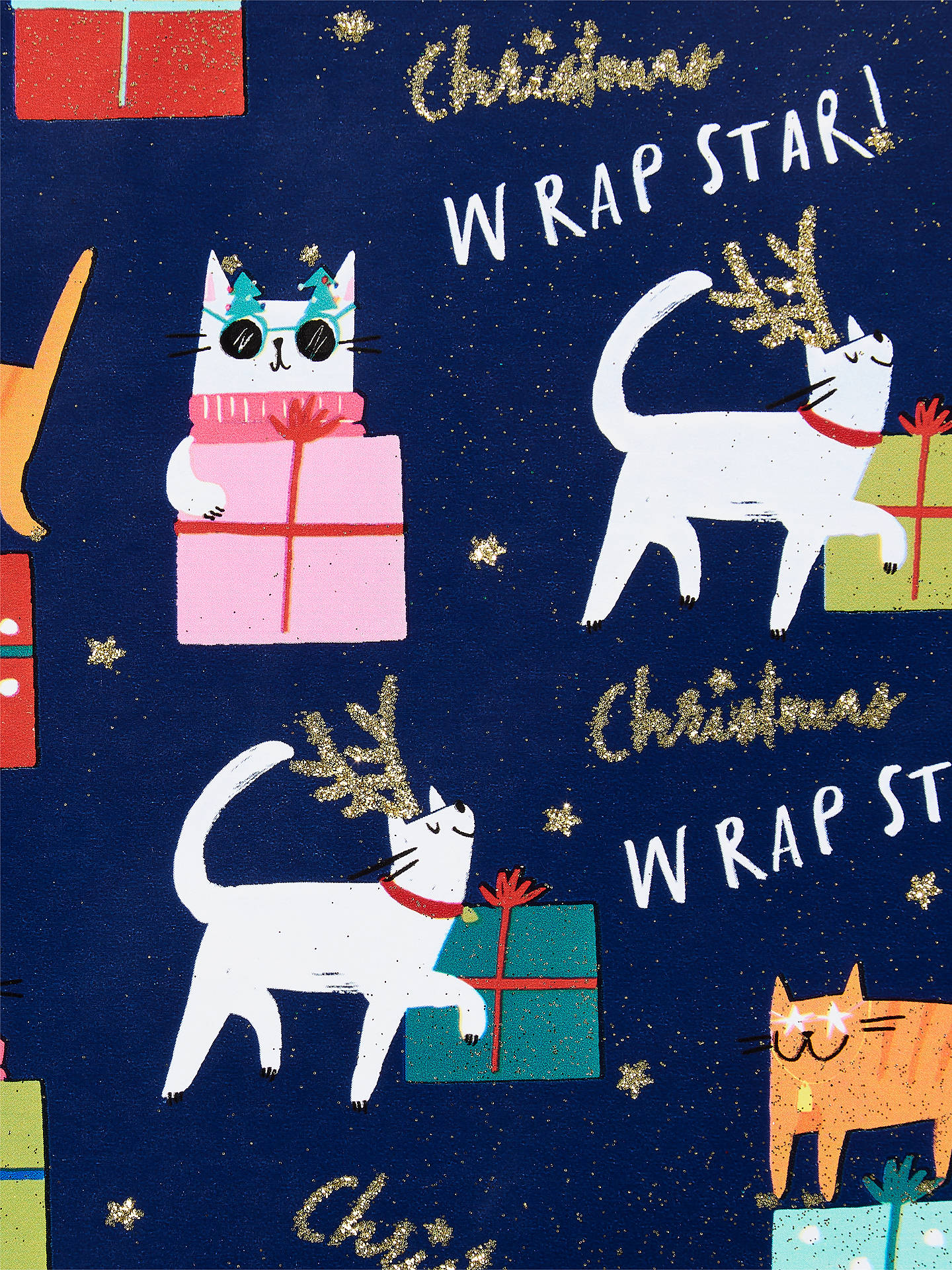 Buy John Lewis & Partners Rainbow Christmas Cats Gift Wrap, 3m Online at johnlewis.com