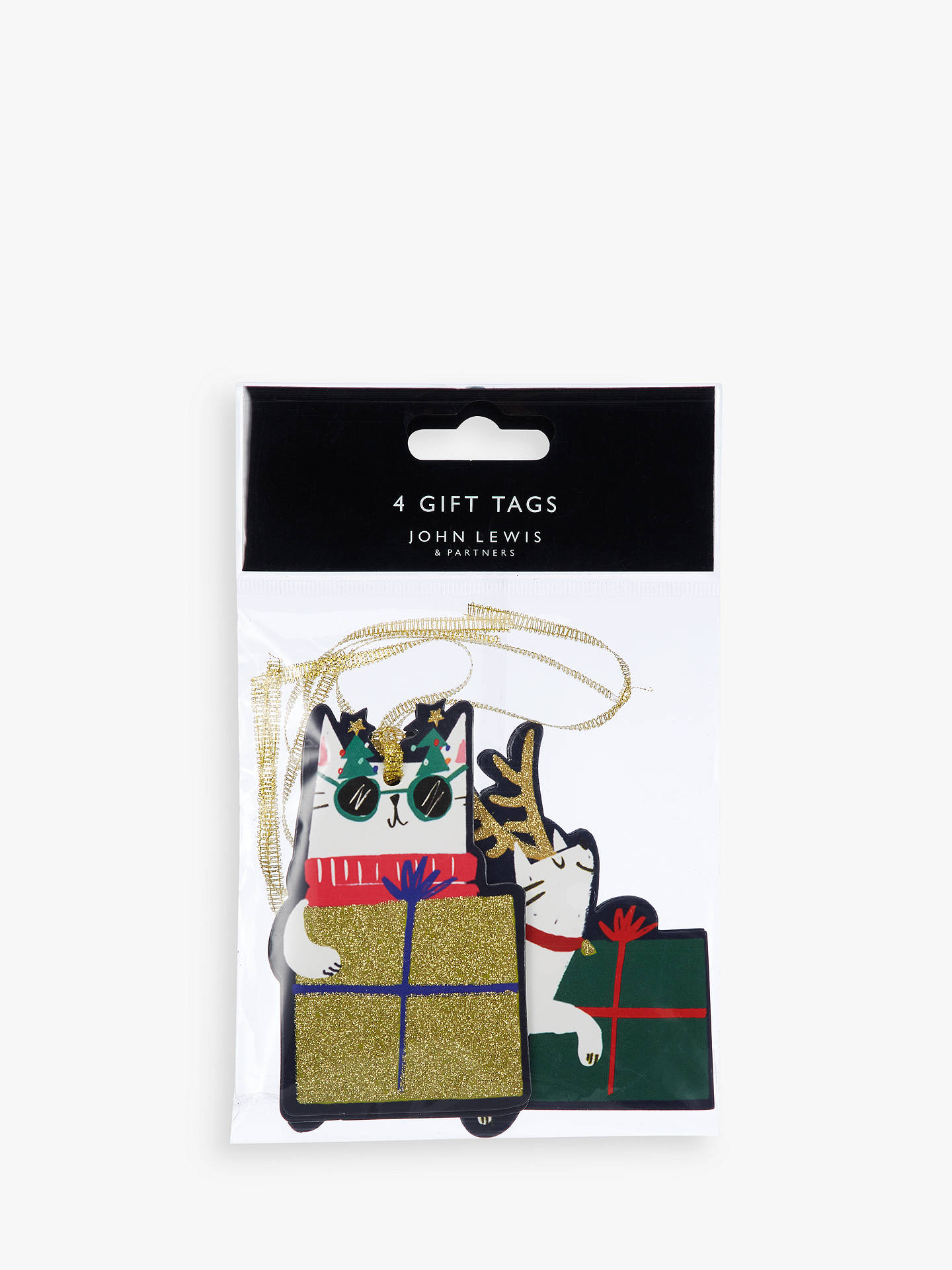 John Lewis Partners Rainbow Reindeer Cat Gift Tags Pack Of 4 At