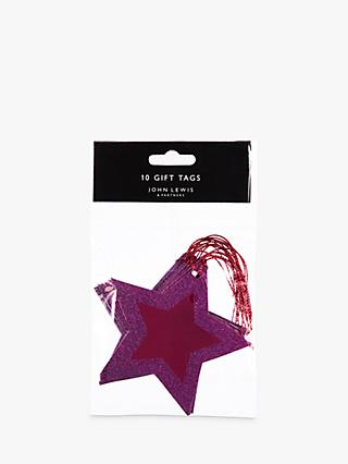 John Lewis & Partners Rainbow Glitter Edged Star Gift Tags, Pack of 10