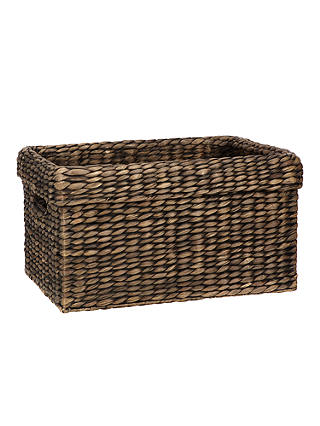Buy John Lewis & Partners Fusion Dark Water Hyacinth Rectangular Basket Online at johnlewis.com