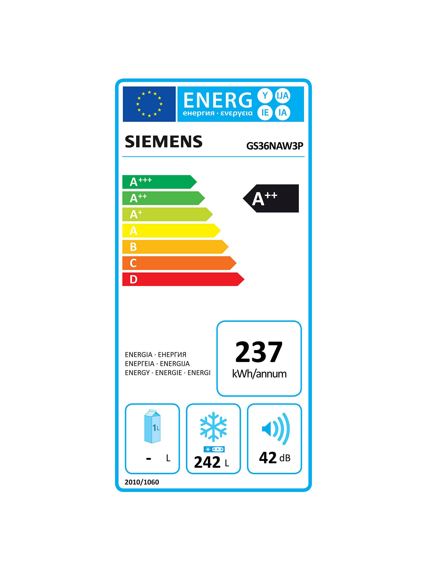 BuySiemens GS36NAW3P Tall Freezer, A++ Energy Rating, 60cm Wide, White Online at johnlewis.com