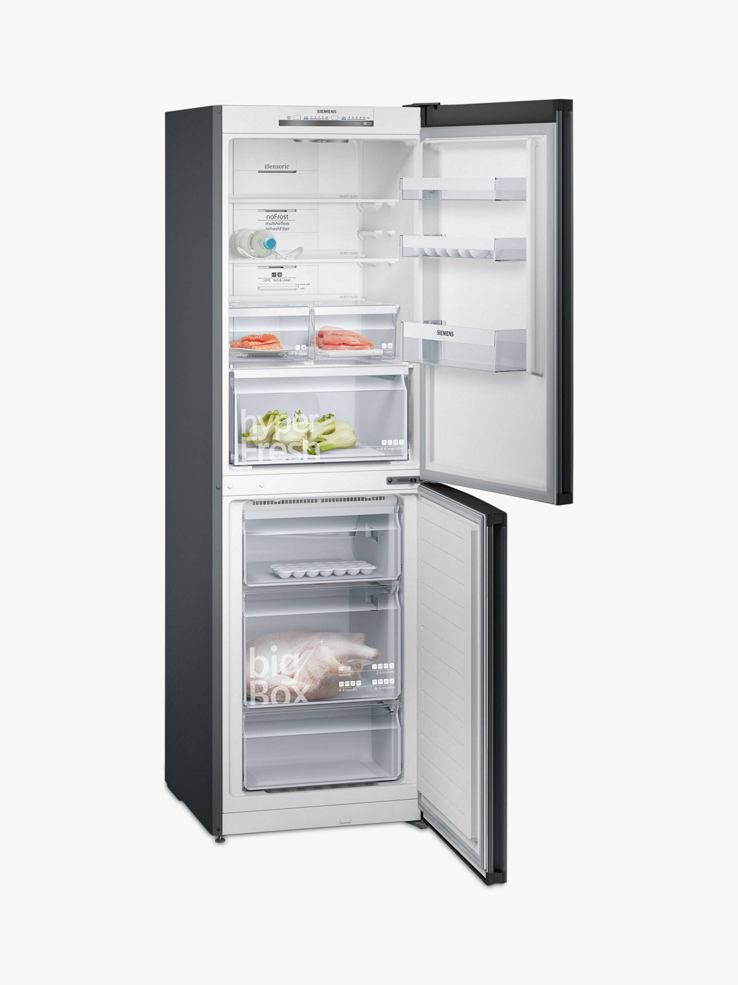 BuySiemens iQ300 KG34NVX3AG Fridge Freezer, A++ Energy Rating, Black Online at johnlewis.com