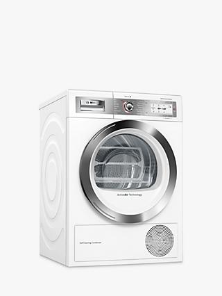 Bosch Serie 8 WTYH6791GB Freestanding Heat Pump Condenser Tumble Dryer, 9kg Load, A++ Energy Rating, White