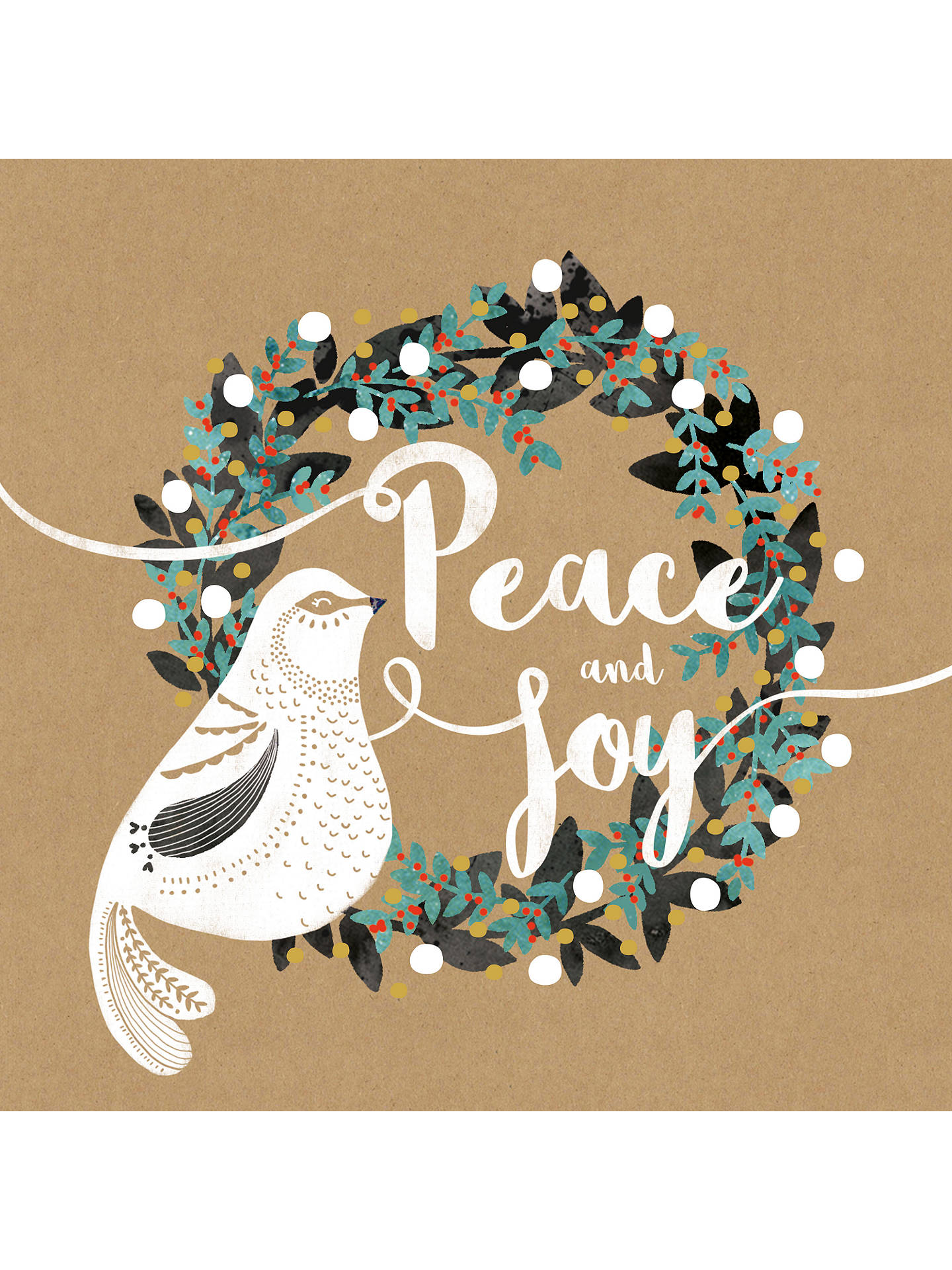 BuyArt File Wreath Peace & Joy Cello Christmas Cards, Pack of 6 Online at johnlewis.com