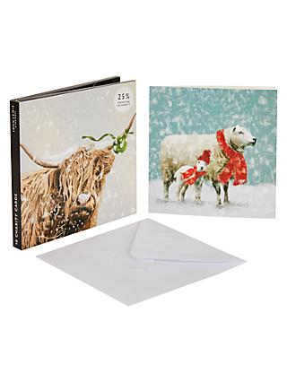 john lewis partners highland cow and sheep christmas card pack of 10 - Christmas Card Packs
