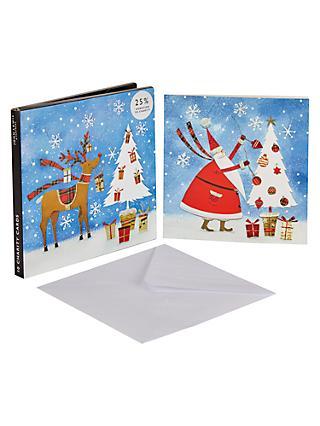john lewis partners santa and reindeer christmas card pack of 10 - Christmas Card Packs