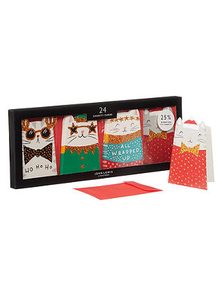 Buy John Lewis & Partners Cutie Cats Mini Tray Christmas Card, Pack of 24 Online at johnlewis.com