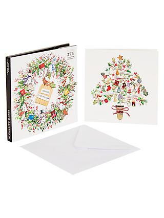 john lewis partners wreath and tree christmas card pack of 10 - Christmas Card Packs
