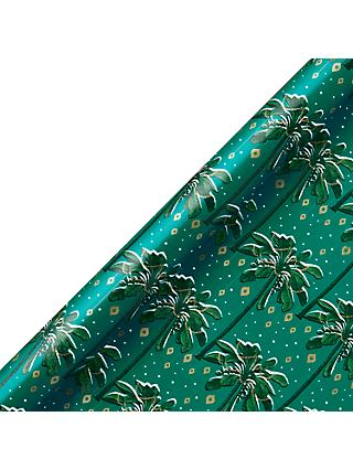 John Lewis & Partners Emerald Decorated Palm Gift Wrap, 3m