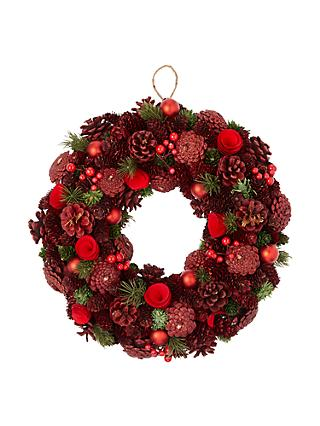 john lewis partners glittered pine cone wreath green red