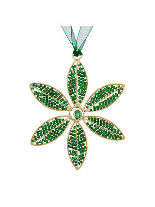 Buy John Lewis & Partners Emerald Beaded Flower Tree Decoration, Green Online at johnlewis.com