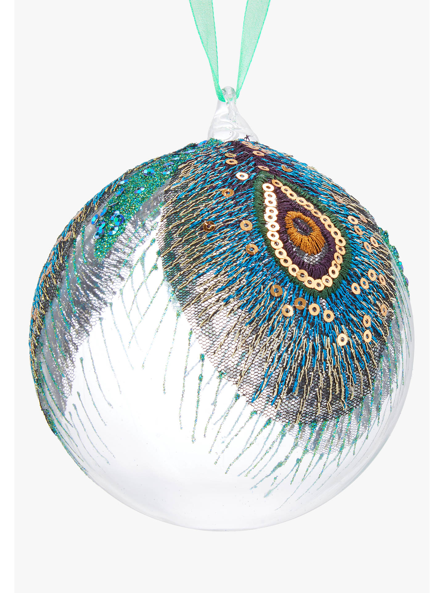 BuyJohn Lewis & Partners Emerald Large Peacock Bauble, Green Online at johnlewis.com