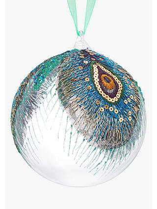 Buy John Lewis & Partners Emerald Large Peacock Bauble, Green Online at johnlewis.com