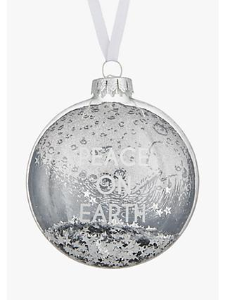 John Lewis & Partners Jet Peace on Earth Bauble, Black