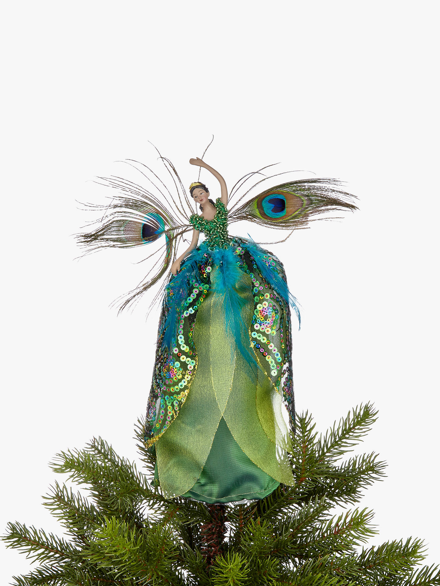 John Lewis Partners Emerald Peacock Fairy Tree Topper Green