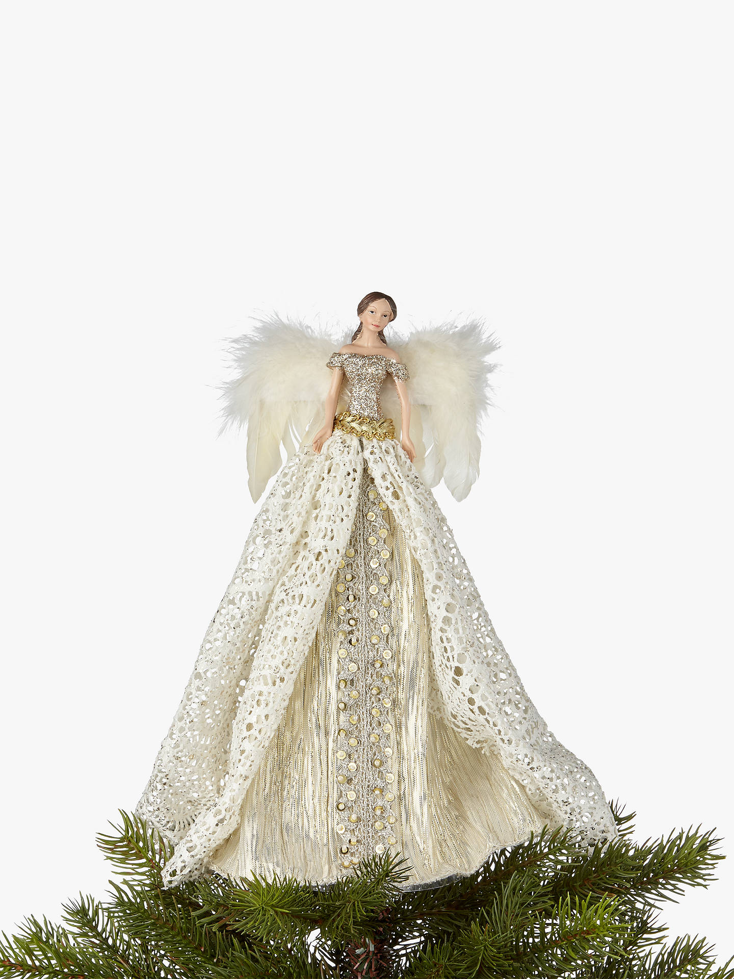 John Lewis & Partners Gold Victorian Angel Tree Topper, Gold at John ...