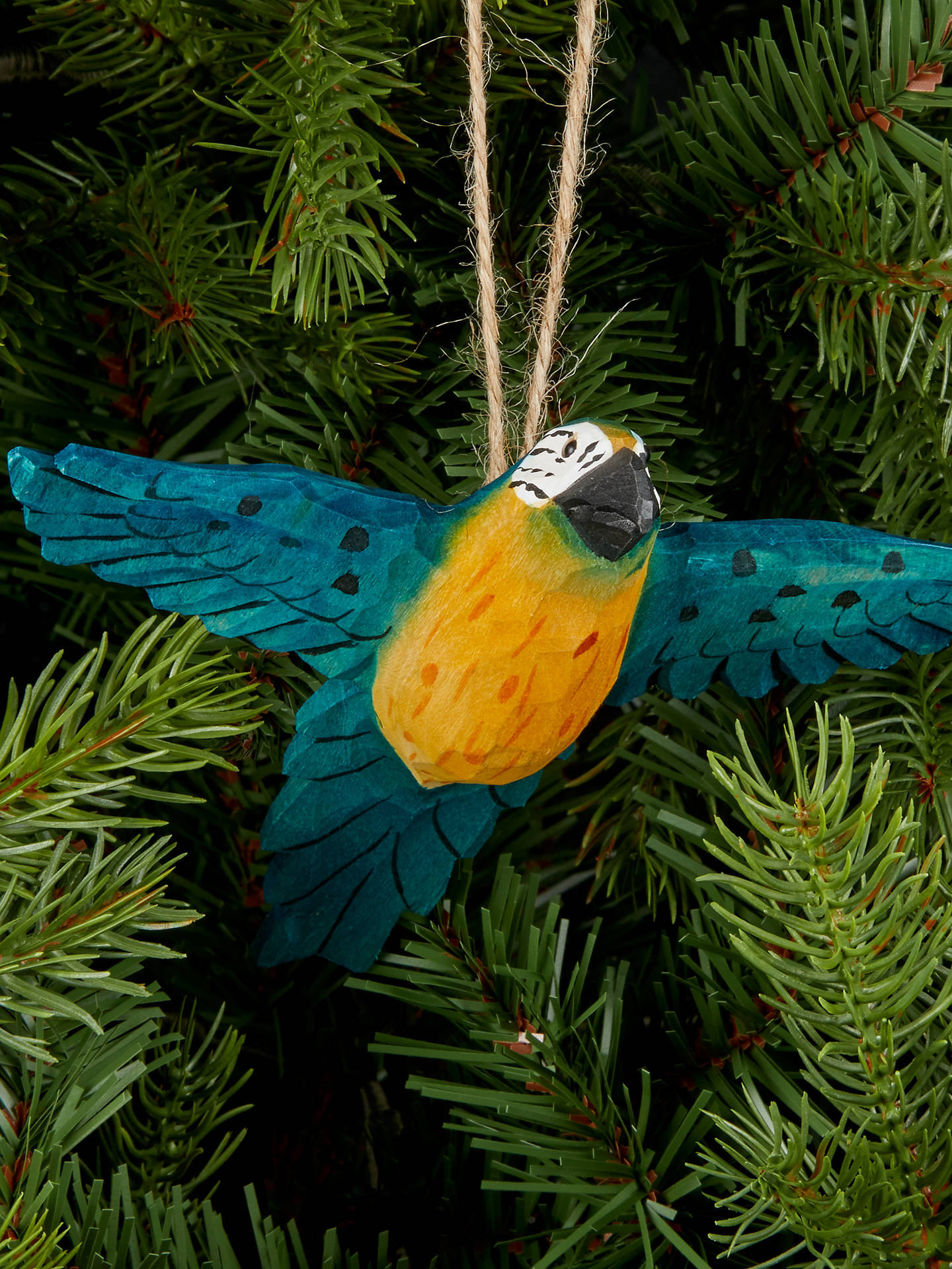 Buy John Lewis & Partners Emerald Wooden Macaw Tree Decoration, Green Online at johnlewis.com
