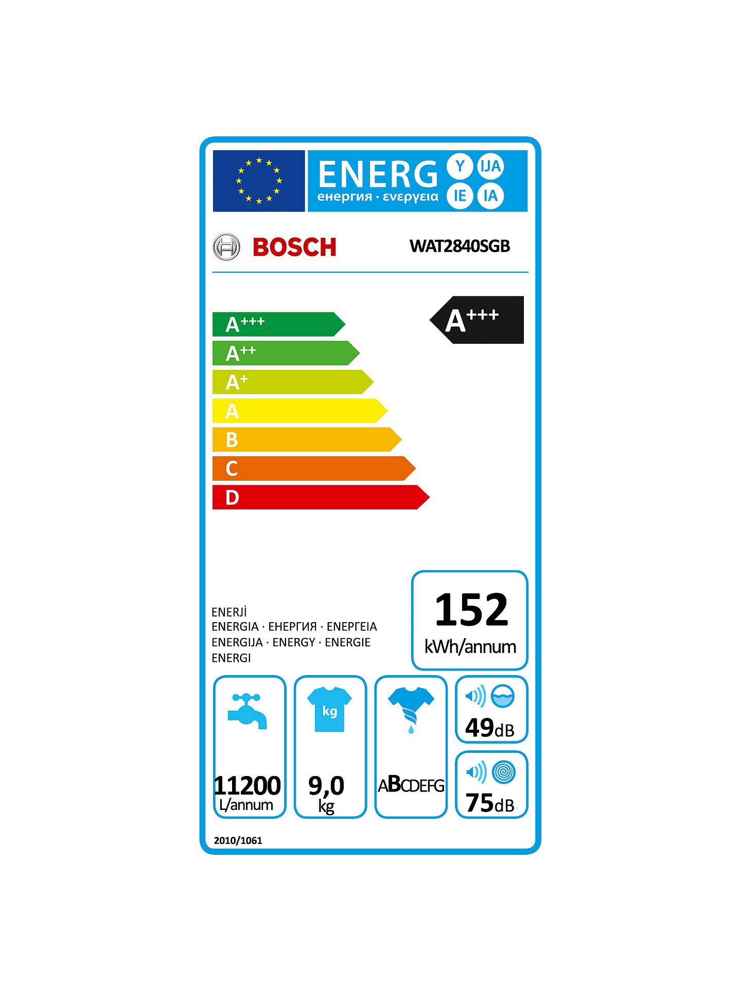 Buy Bosch WAT2840SGB Freestanding Washing Machine, 9kg Load, A+++ Energy Rating, 1400rpm Spin Speed, Silver Online at johnlewis.com