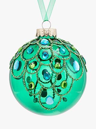John Lewis Partners Emerald Clear Glass Gem Bauble Green
