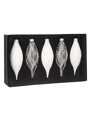 Buy John Lewis & Partners Moonstone Finial Bauble, Box of 5, White Online at johnlewis.com