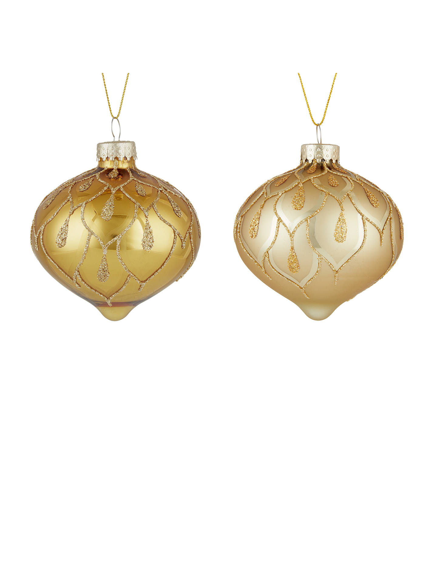 Buy John Lewis & Partners Gold Onion Bauble, Box of 3, Gold Online at johnlewis.com