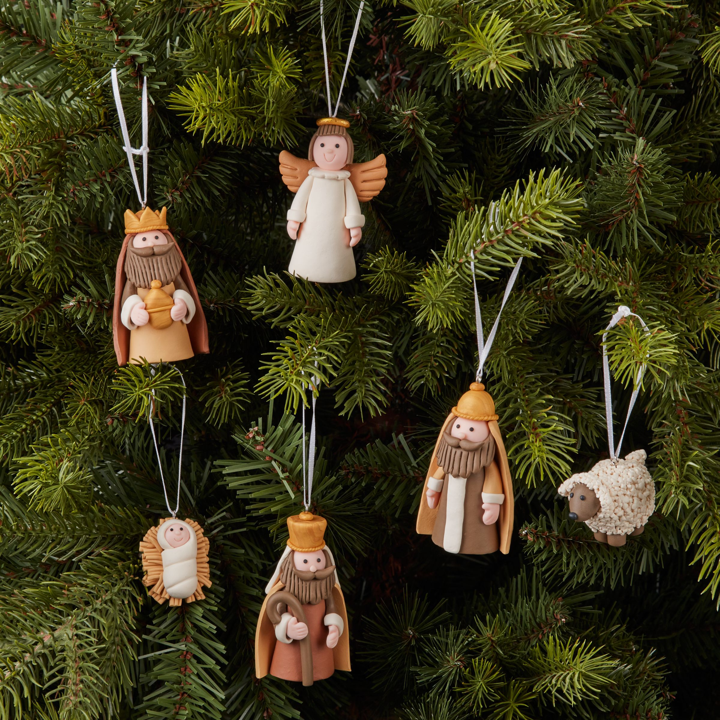 John Lewis Partners Claydough Nativity Tree Decorations Set Of 10 At John Lewis Partners