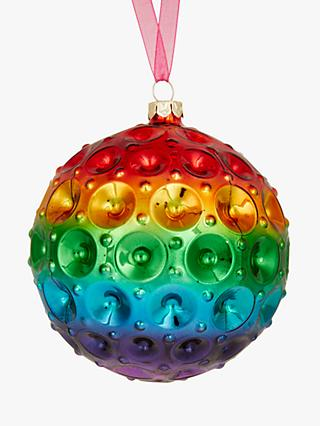 john lewis partners rainbow indented bauble multi