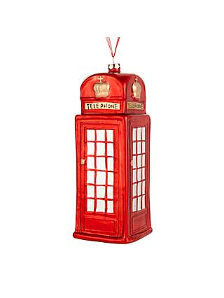 John Lewis & Partners Telephone Box Bauble, Red