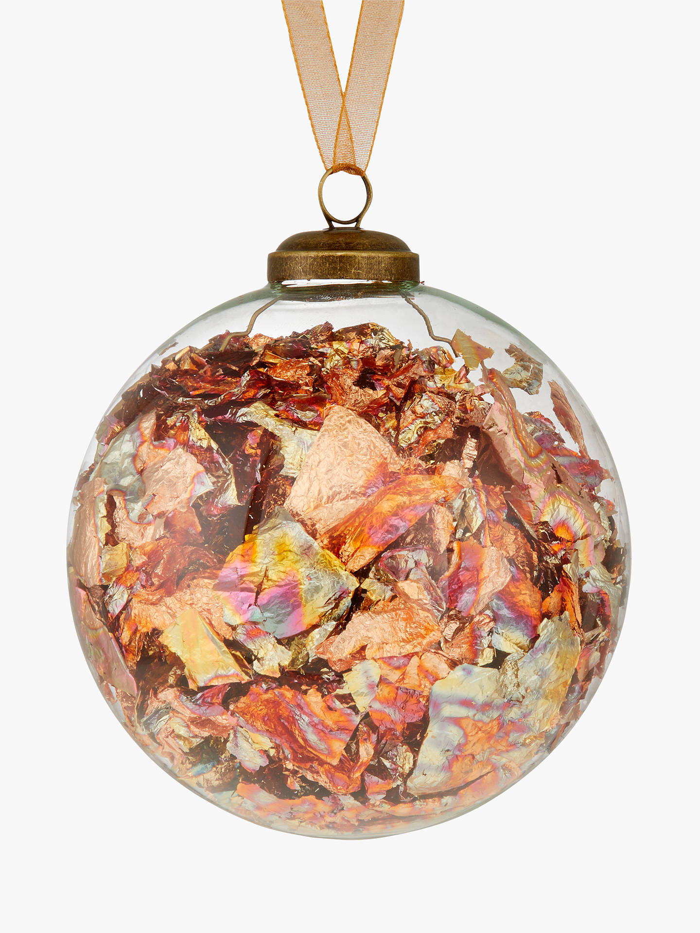BuyJohn Lewis & Partners Amber Copper Foil Bauble, Orange Online at johnlewis.com