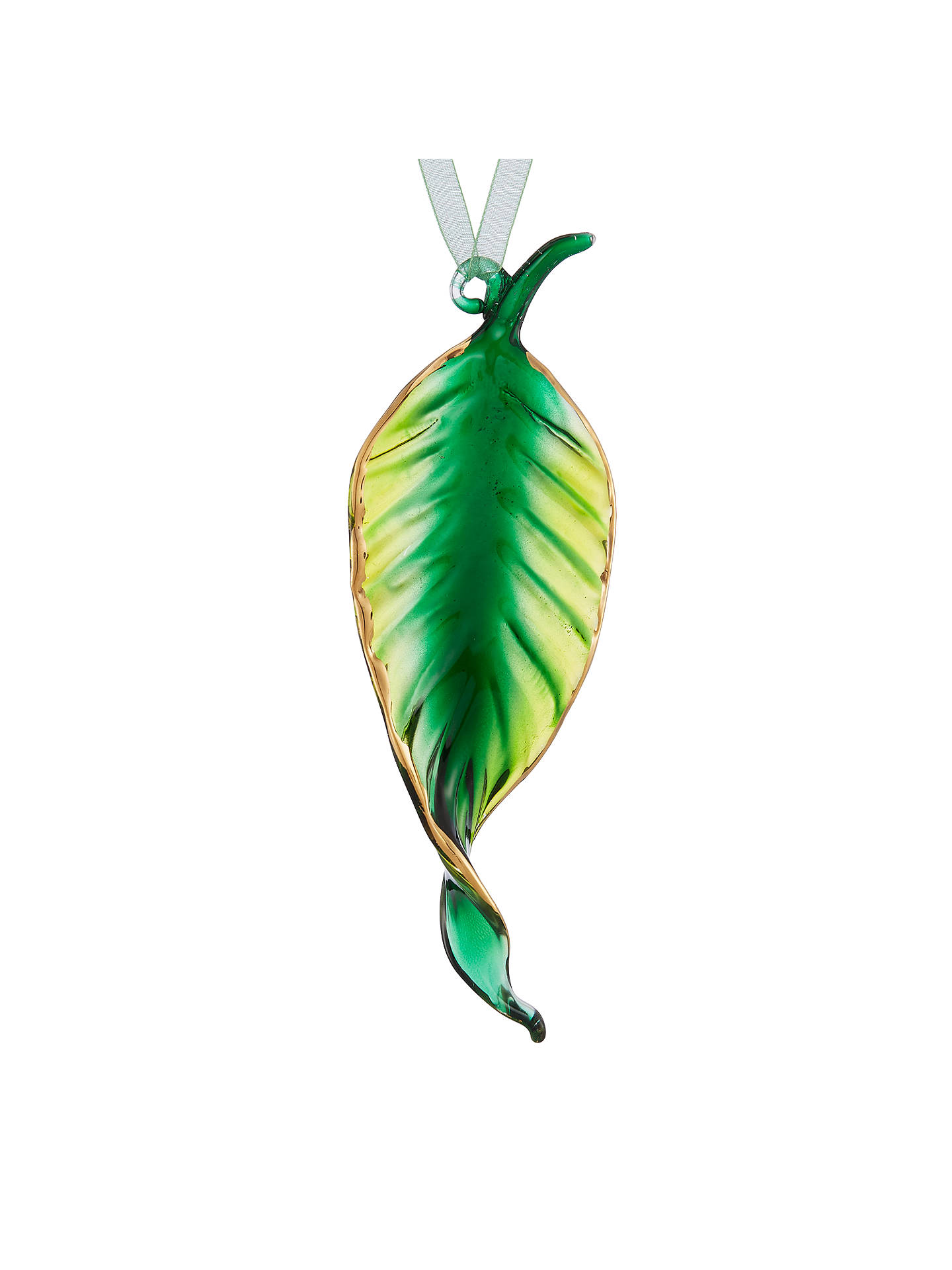 Buy John Lewis & Partners Emerald Glass Leaf Tree Decoration, Green Online at johnlewis.com