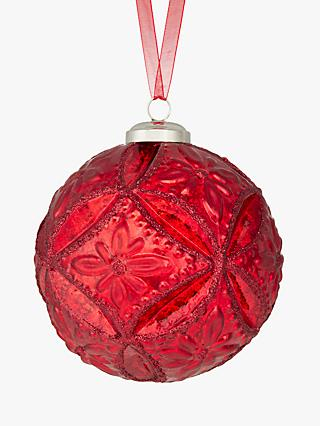 John Lewis Partners Ruby Quilted Flower Bauble