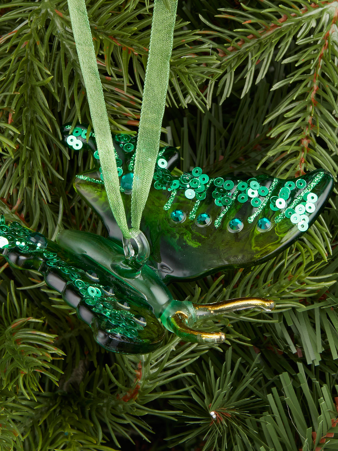 BuyJohn Lewis & Partners Emerald Butterfly Tree Decoration, Green Online at johnlewis.com