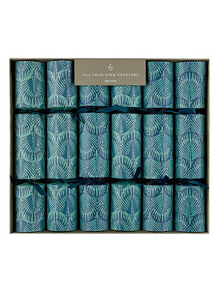 Buy John Lewis & Partners Emerald Pavone Christmas Crackers, Pack of 6, Green Online at johnlewis.com