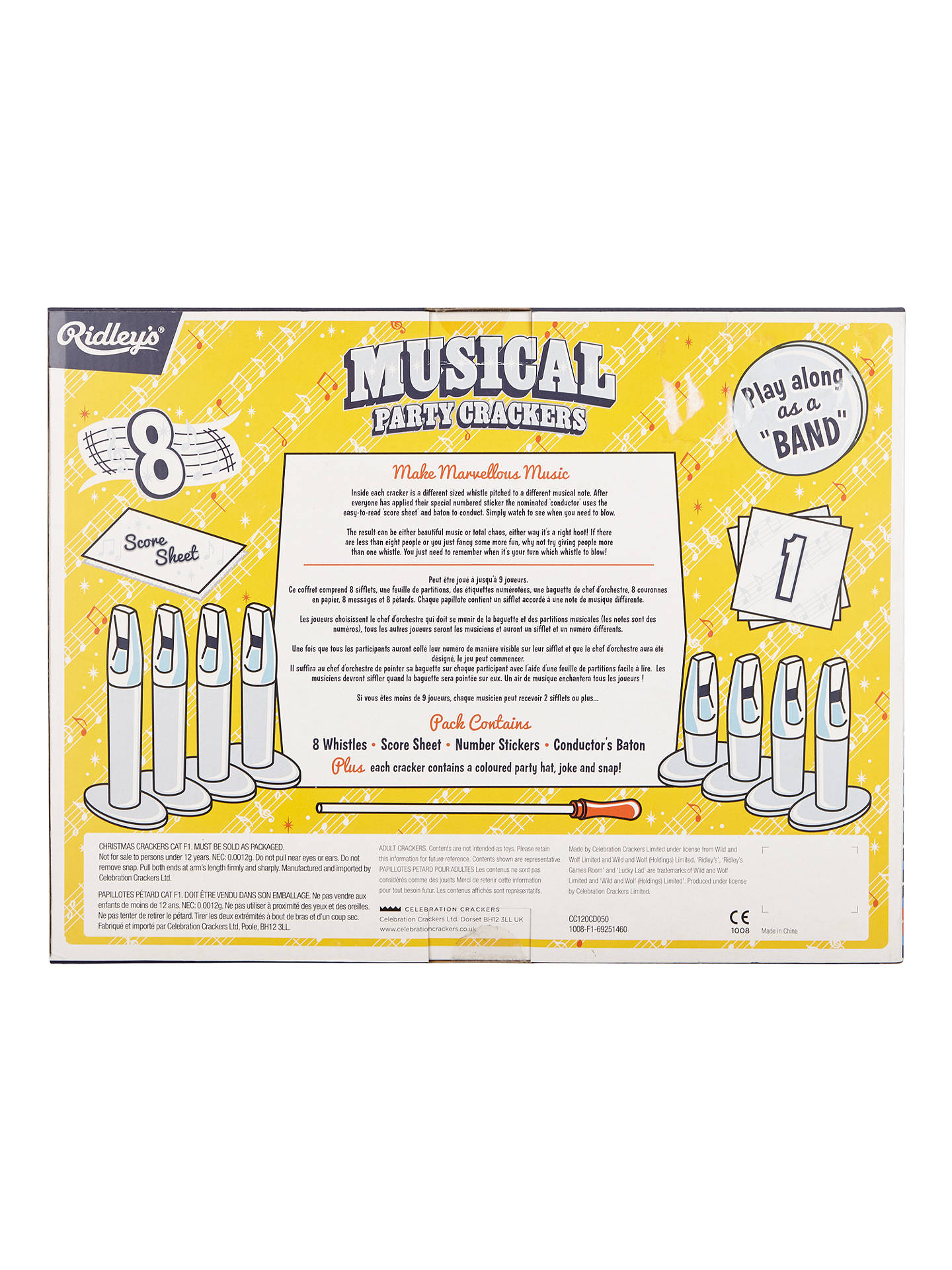 BuyRidley's Musical Party Luxury Christmas Rainbow Crackers, Pack of 8, Multi Online at johnlewis.com