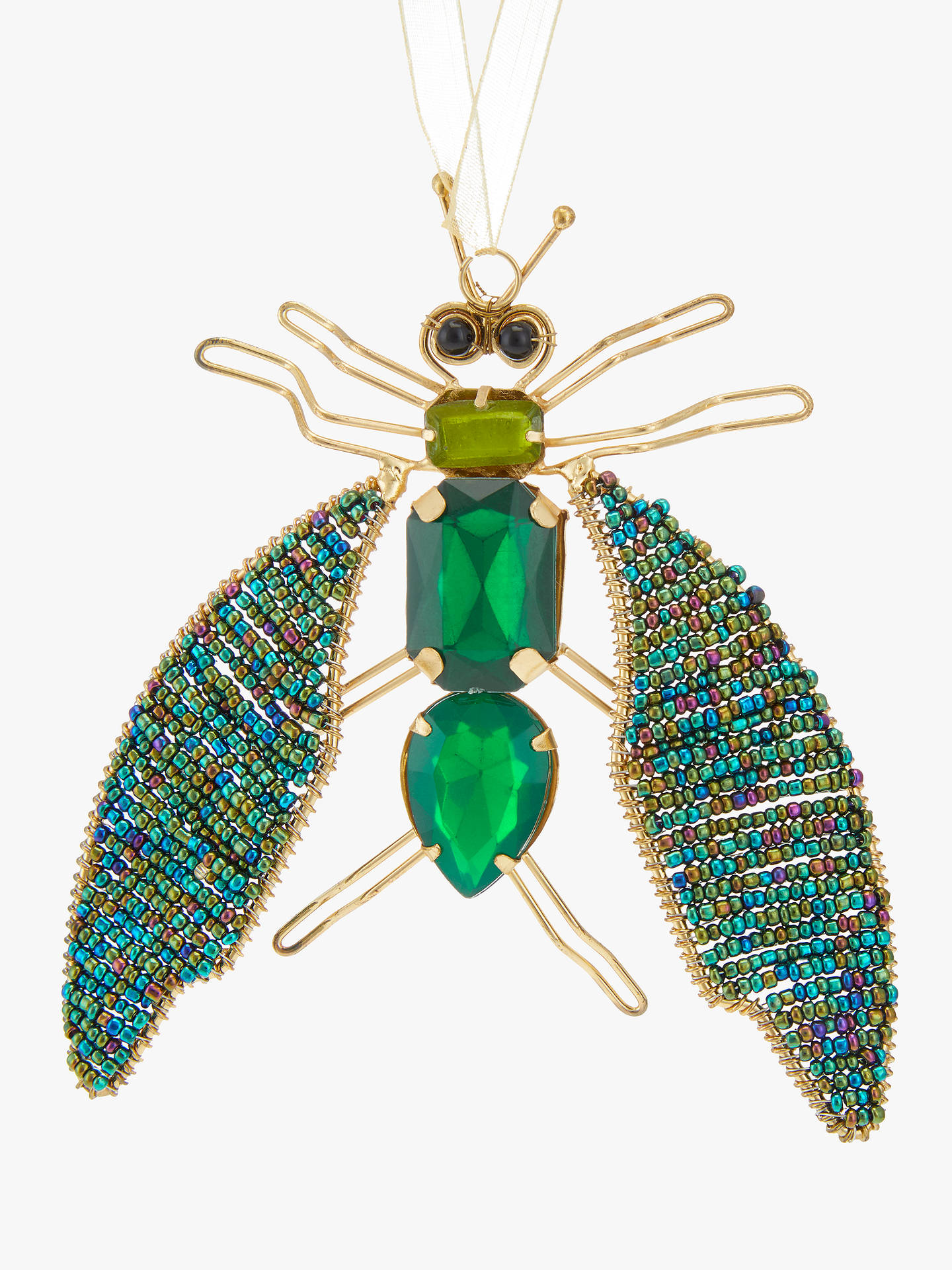 Buy John Lewis & Partners Emerald Beaded Bug Tree Decoration, Green Online at johnlewis.com