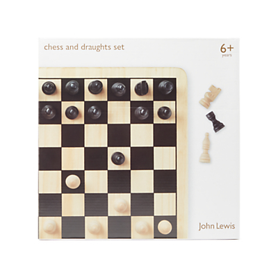 Image of John Lewis & Partners Chess & Draughts Wooden Game