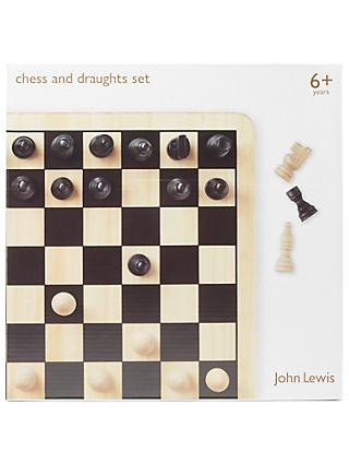 John Lewis & Partners Chess & Draughts Wooden Game