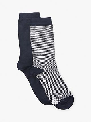 eed870e73440c John Lewis & Partners Feeder Stripe and Monochrome Ankle Socks,Pack of 2,  Navy