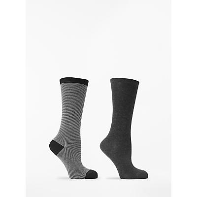 Image of John Lewis & Partners Feeder Stripe/Solid Knee High Socks, 2 Pack, Black/Multi