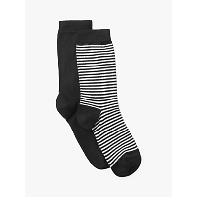 Image of John Lewis & Partners Feeder Stripe and Monochrome Wide-Fit Ankle Socks, Pack of 2, Black/Multi