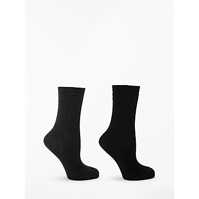 Image of John Lewis & Partners Solid Colour Ankle Socks, Pack of 2, Black/Grey