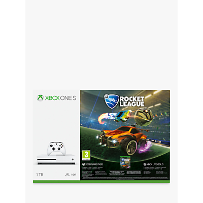 Image of Microsoft Xbox One S Console, 1TB, with Wireless Controller, Rocket League Blast-Off and 3 Months of Xbox Live Gold and 1 Month Game Pass Bundle