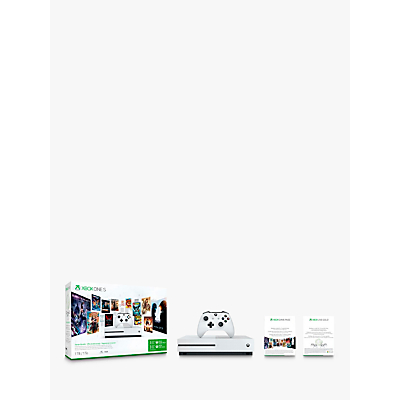 Image of Microsoft Xbox One S Console, 1TB, with Wireless Controller, 3 Months Xbox Live Gold Pass and 3 Months Game Pass Bundle