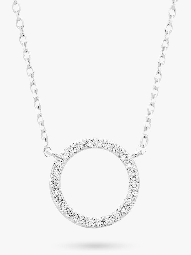 Estella Bartlett Estella Bartlett Pave Cubic Zirconia Circle Pendant Necklace, Silver