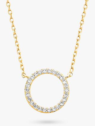 Estella Bartlett Large Cubic Zirconia Pave Circle Pendant Necklace, Gold